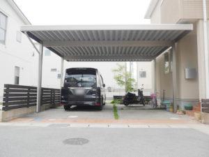 愛知県弥富市 久米工業 折板カーポート2台用工事【株式会社サッシ.NET】